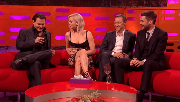 Graham Norton recently played host to a lovely bunch of celebrities on his lovely show. Johnny Depp, Jennifer Lawrence, James McAvoy, and Jack Whitehall all dropped by.