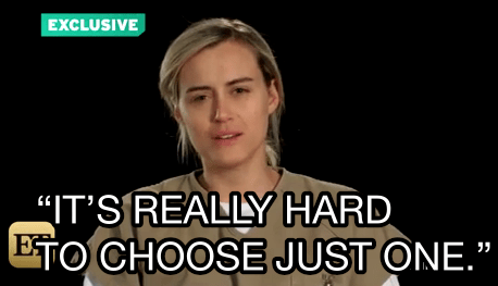 Taylor Schilling tried to play it fair by avoiding the question and saying she loves everyone equally.