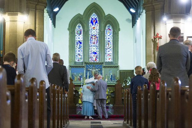So on Saturday, the Dunns finally became husband and wife in front of a crowd of around 100 family members and friends at St. Mary's Church in Leeds.