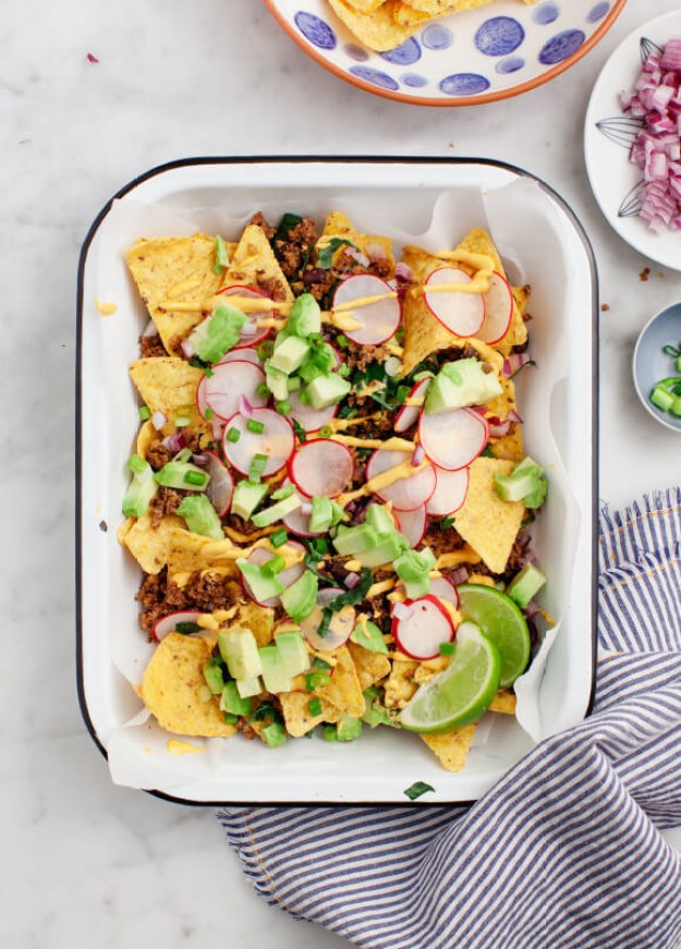 "Healthy Loaded Vegan Nachos with Mushroom Walnut Taco ""Meat"""