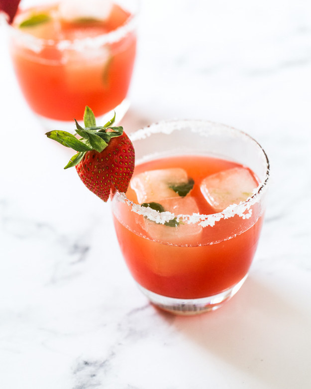 Strawberry Rhubarb Margaritas With Mint Lime Ice
