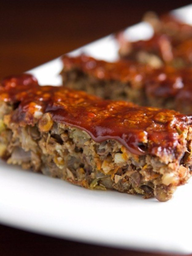 "Lentil ""Meatloaf"" with Apple Butter, Ketchup and Balsamic Glaze"