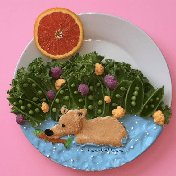 Sarah Gonzalez is a mother of SIX who makes elaborate and amazing food art creations for her kids. She shares them with the world via her Instagram account, Lunarbell Lunch.