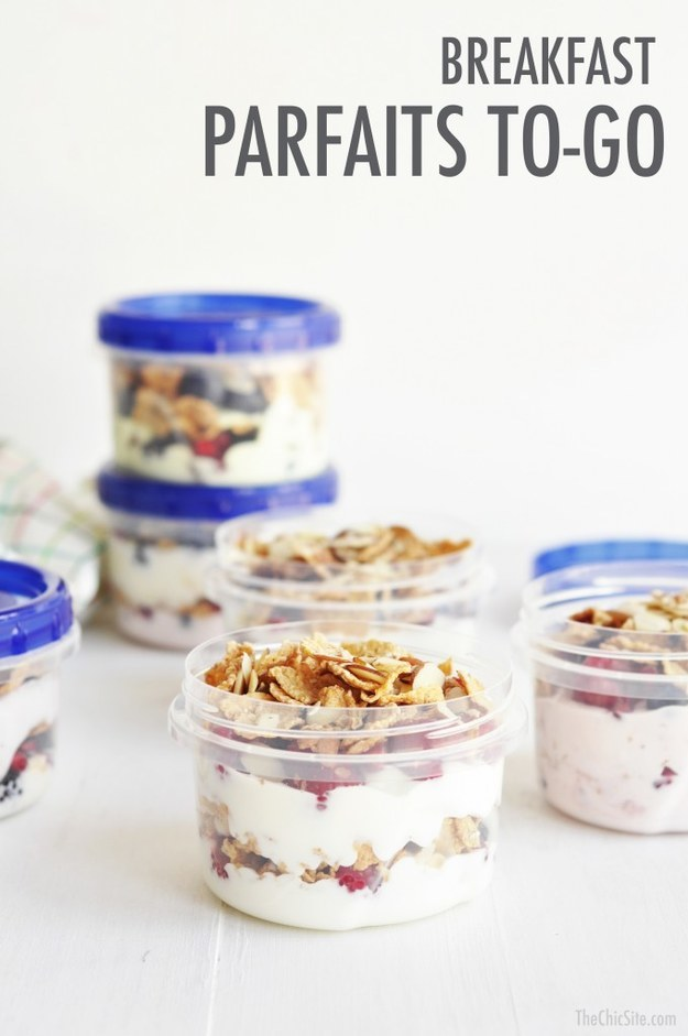 These breakfast parfaits are ideal for mornings when you're legit running out the door.