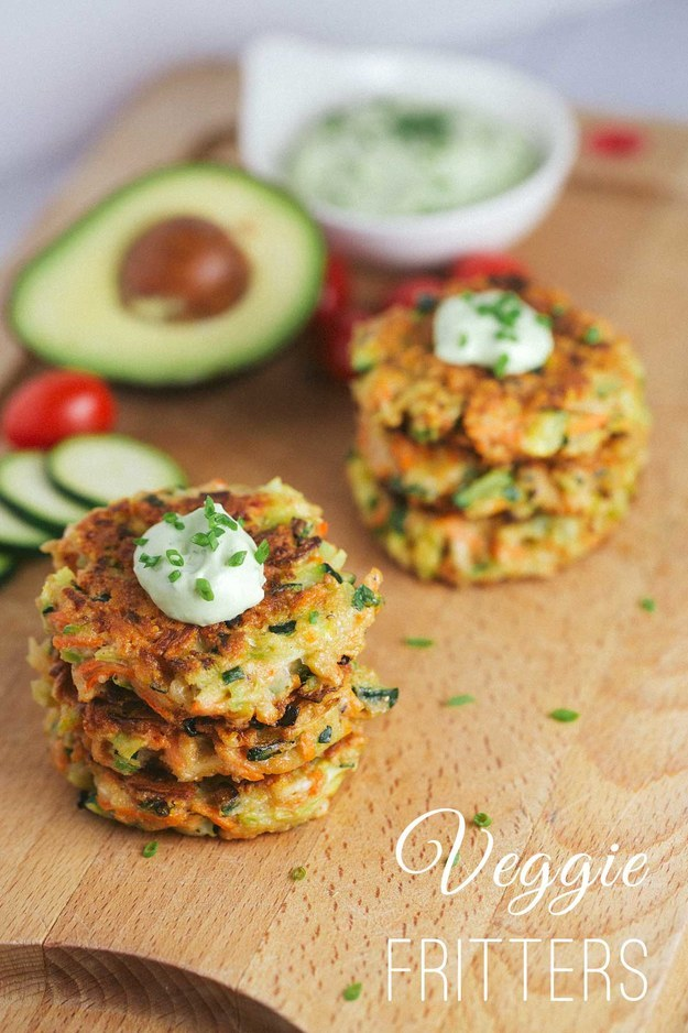 2. Crispy Vegetable Fritters With Avocado Yogurt Sauce