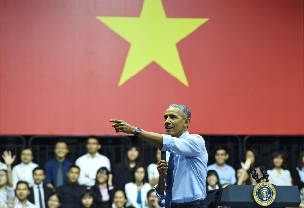 Barack Obama is currently in Vietnam as part of an attempt to improve relations between them and the U.S.
