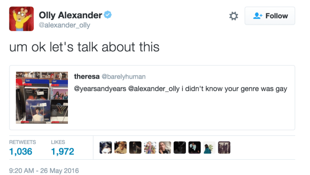 The out lead singer of Years & Years, Olly Alexander, not only spotted the tweet but had quite a few things to say about it.