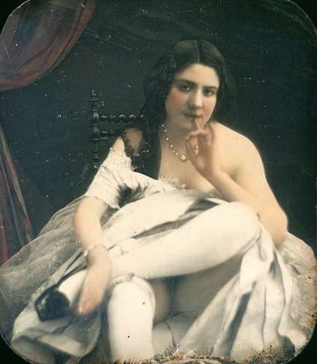 Nude with White Leggings and Finger to Mouth, c.1850