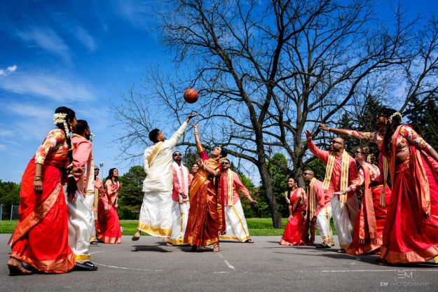 Arun Manoharan and Ajitha Jeganathan are serious about basketball. Like, spending every Valentine's Day watching the All-Star Game serious. So when it came time to tie the knot, incorporating the game and their favourite team, the Raptors, was a no-brainer.