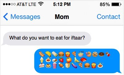 The incoherent iftar planning text.