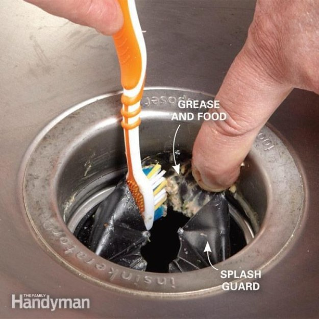 If you have a garbage disposal, clean it out with an old toothbrush, making sure to get underneath the splash guard.