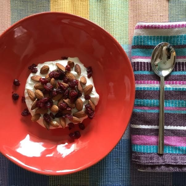 Greek yogurt with almonds and dried cranberries