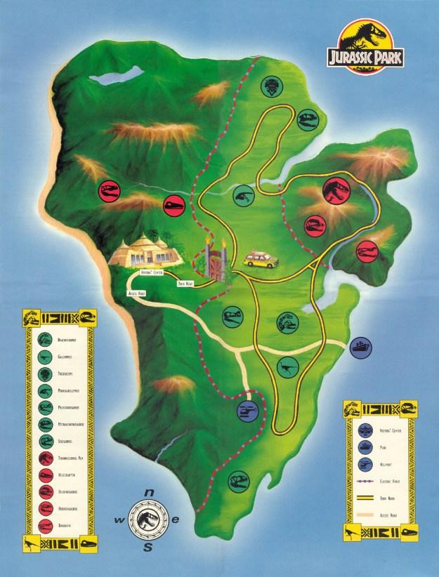 El mapa de 'Parque Jurásico':