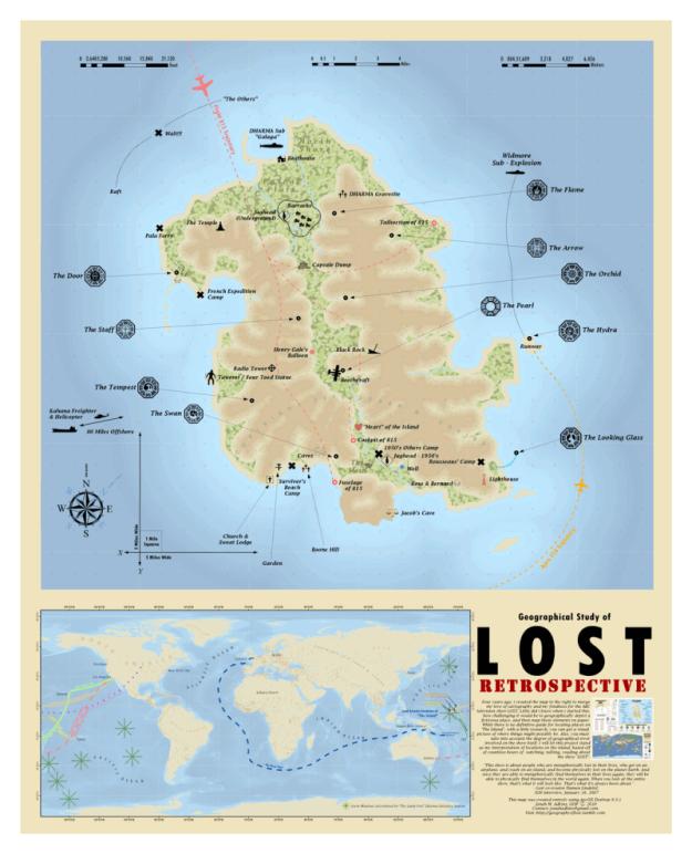 El mapa de la isla de 'Perdidos':