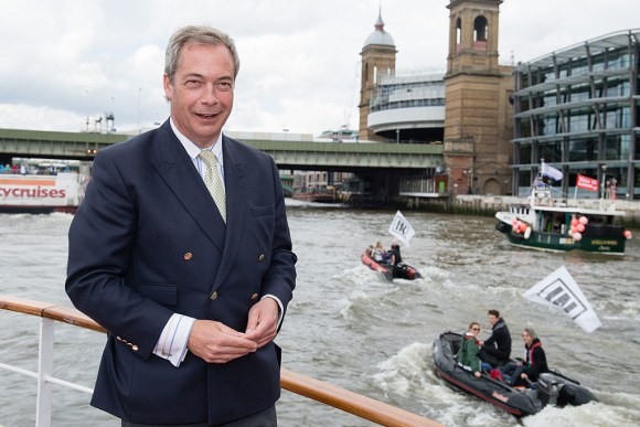 """And this is the """"admiral"""" of the Leave flotilla. His name is Nigel Farage, and he's the leader of the UK Independence Party, which, as its name suggests, wants us to get out of the European Union."""