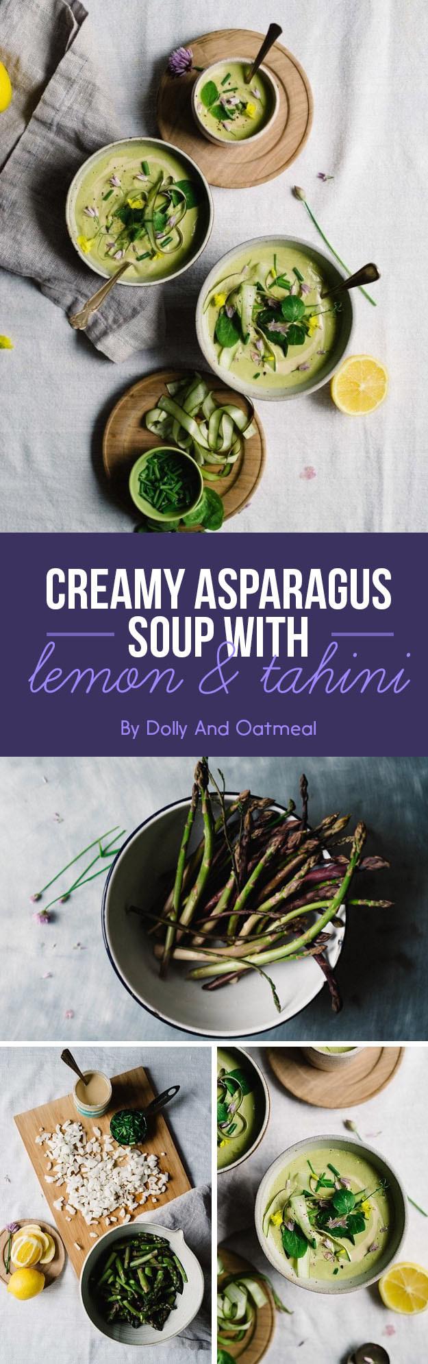 Creamy Asparagus Soup with Lemon and Tahini