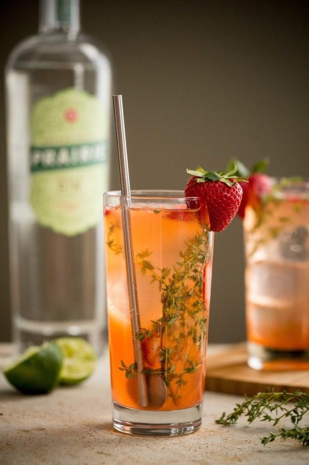 Strawberry Thyme Gin Rickeys