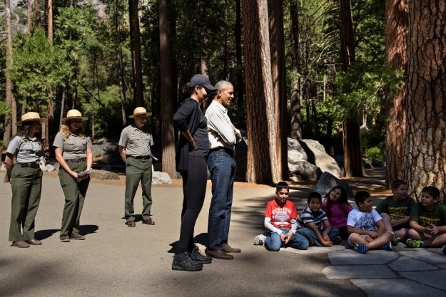 On Saturday, the president got to hang out with some of the park's young visitors to talk about how cool the parks are.