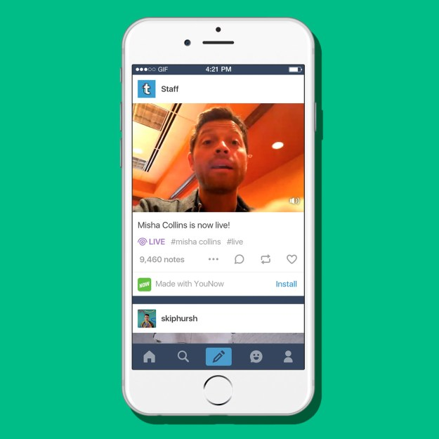 Today, Tumblr will now allow posting livestreams from other apps (YouNow and others).