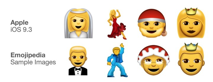 Emojis to reflect both genders have been included, like the groom to match the bride, a male dancer to match the salsa dancer, a Mrs. Claus to match Santa, and a prince to match with the crowned woman.