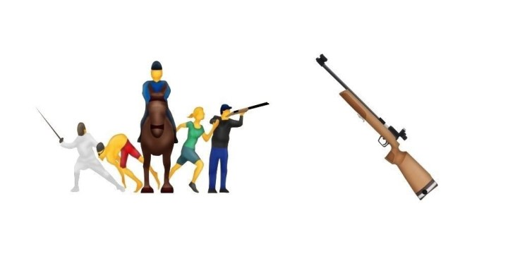 The only emojis that didn't make the cut were the modern pentathlon and the rifle. There is already a pistol emoji.