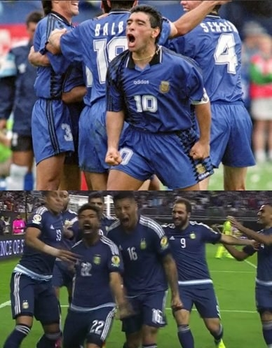 Because, you see, his celebration was very similar to Maradona's 22 years prior.