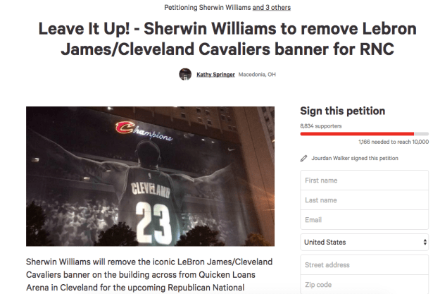 On Monday, a Change.org petition was started to keep the James banner up through the summer: