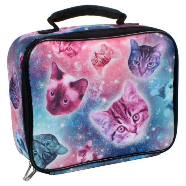 And finally, pack everything up in an insulated lunch box covered in galaxy cats.