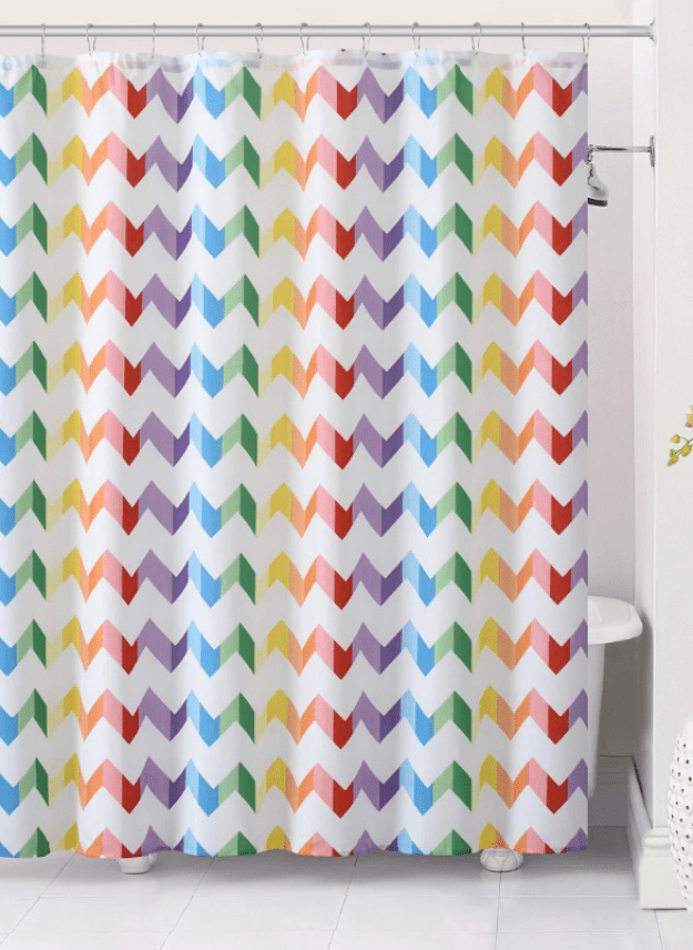 A colorful shower curtain that may inspire some singing.