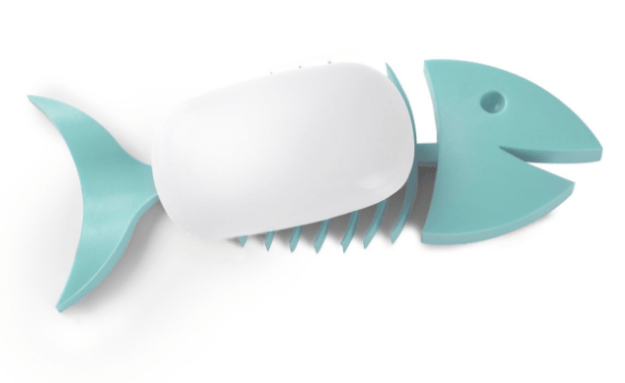 """A fish soap holder whose """"ribs"""" help water to drain (so your soap lasts longer)."""