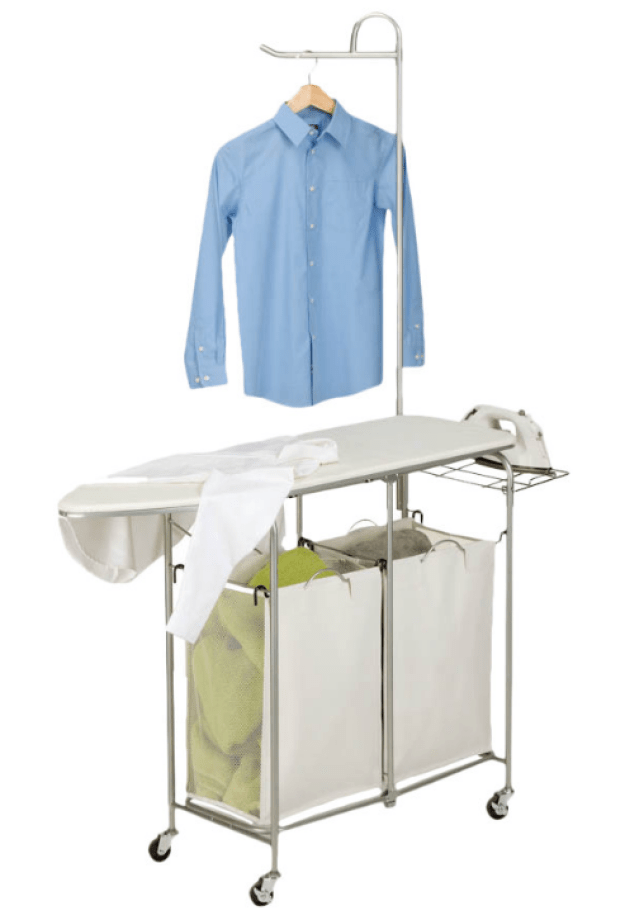 A folding laundry center with an ironing board, an iron rest, two hampers, and a hanging bar.