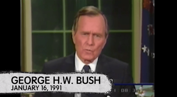 """Some people believe the conspiracy goes as high up as the White House. In a speech after the onset of the Persian Gulf War, President George H. W. Bush said, """"We have before us the opportunity to forge for ourselves and for future generations a new world order — a world where the rule of law, not the law of the jungle, governs the conduct of nations."""""""