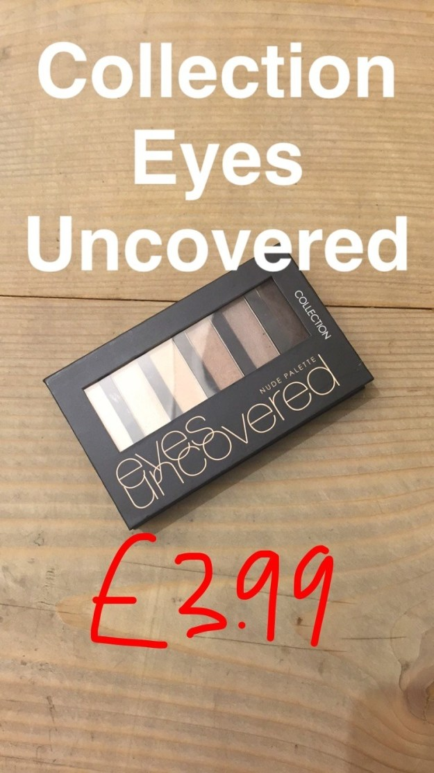 We moved on from the blushers and tried the Collection Eyes Uncovered Palette Nude Palette, £3.99