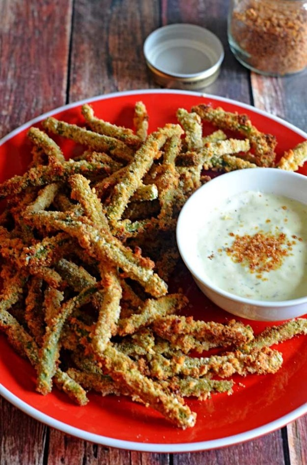 Baked Green Bean Fries With Wasabi-Ranch Dip