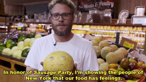 Rogen used animatronic food items and conspicuously placed them among real food, and the results were pretty spectacular.