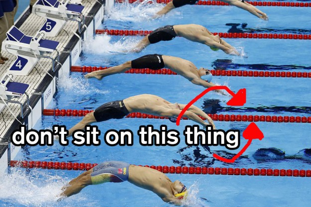 OK, so if you've ever spent any amount of time around a pool, you know one of the major rules is NO SITTING ON THE LANE LINE.