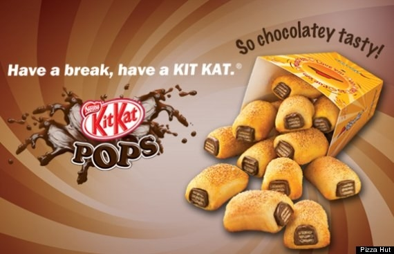 Or maybe you know of Pizza Hut's Kit Kat Pops in the Middle East — those yummy chocolates you love, wrapped in pizza dough.