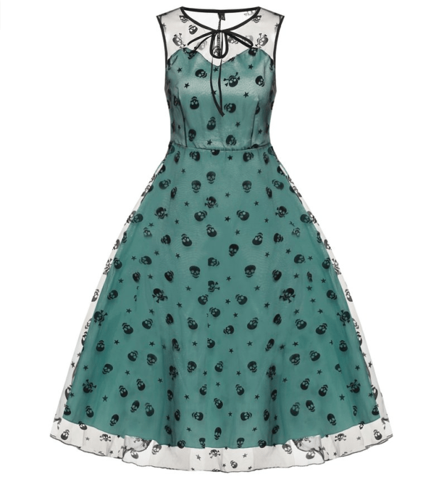 An elegant yet morbid cocktail dress with an embroidered mesh overlay.