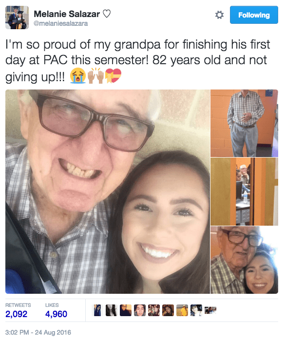 The two caught people's attention after Salazar tweeted about her grandpa's accomplishment on their first day of class on Wednesday.