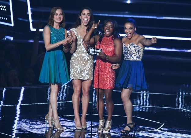 The incredibly talented women of the US Olympic Gymnastics team attended this year's VMAs to present the award for Best Female Video.