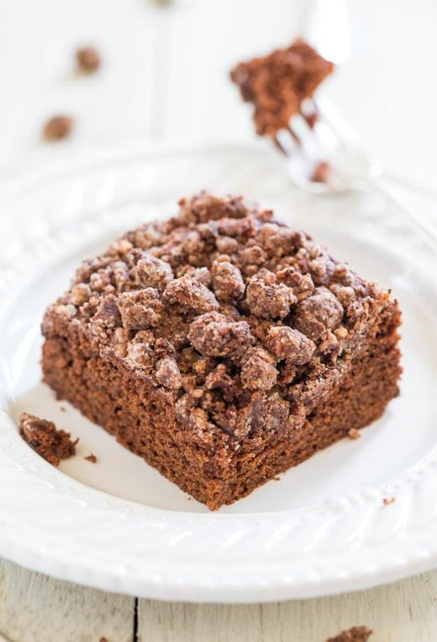 Cocoa Crumble-Topped Chocolate Mocha Cake