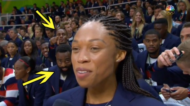 You would've noticed a few folks hammin' it up in the background as, Allyson Felix, track and field star, gave an interview.