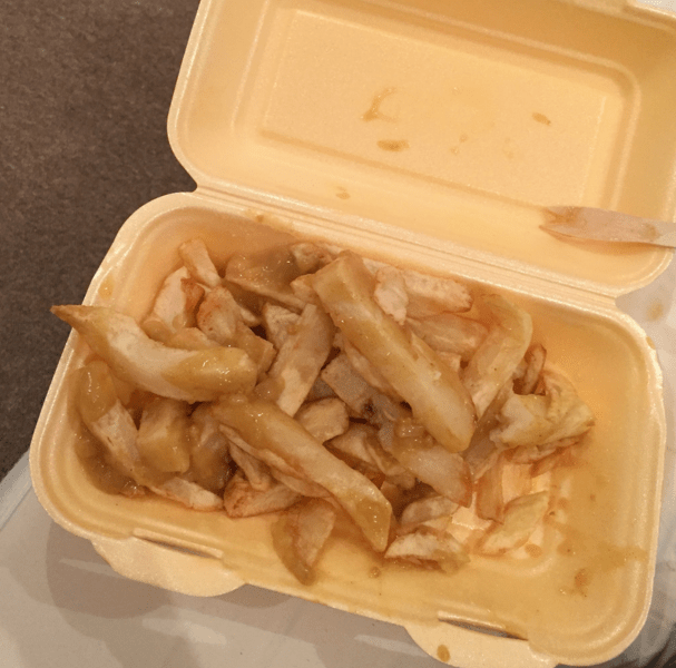 Getting chips and curry sauce on the way home from every night out.