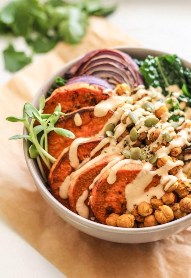 Chickpea, Sweet Potato, and Kale Bowl