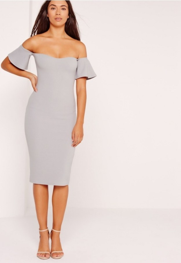 An ice grey dress with frill detailin' that will look great on your new Facebook pro pic.