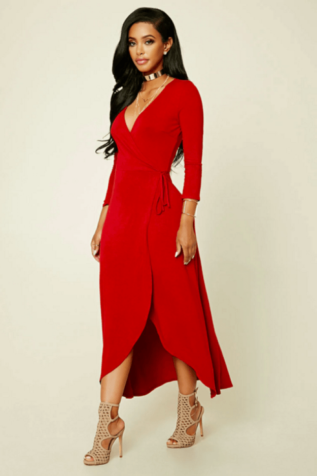 A red dress you'll turn heads in.