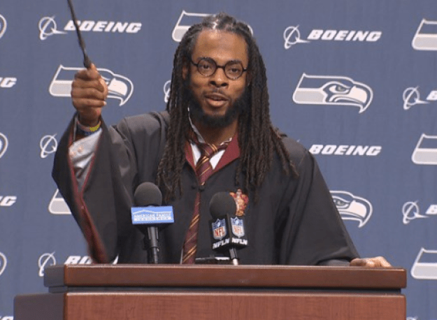 Seattle Seahawks cornerback Richard Sherman showed up to a press conference Wednesday night in full Harry Potter garb, answering questions AS Harry Potter.