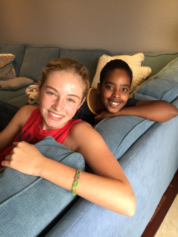 These two 13-year-olds are Casey Pearlman and Yasmin Idris, who are best friends and classmates in Laguna Niguel, California.