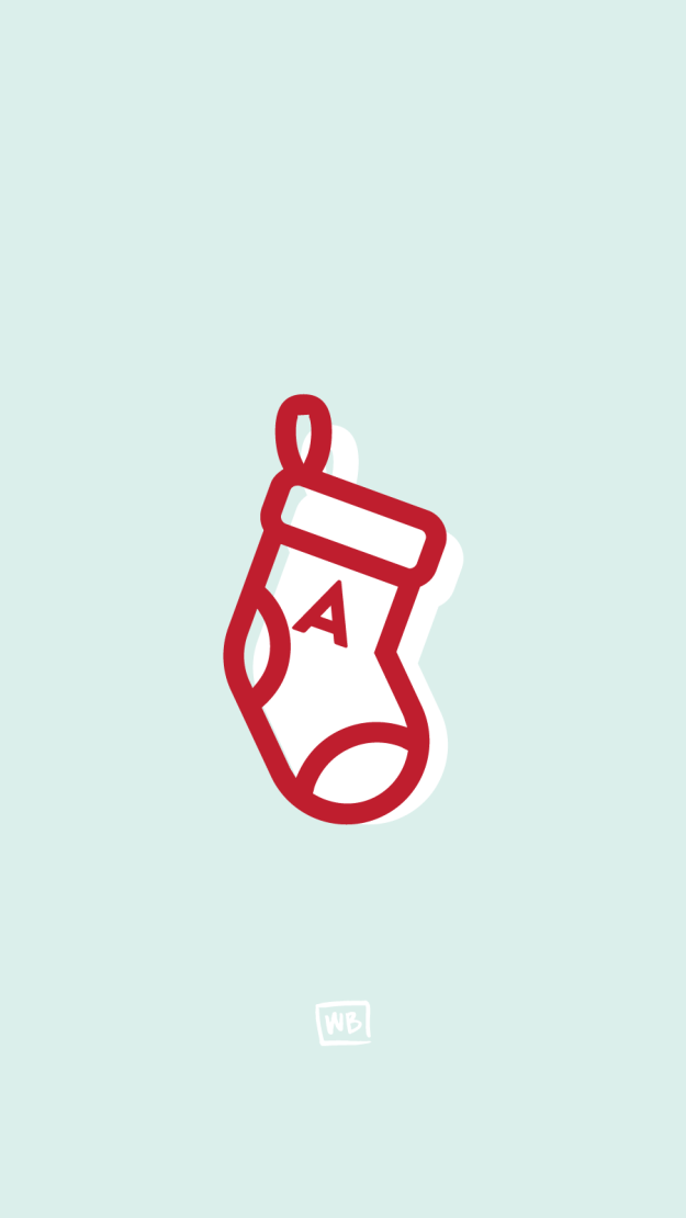 A personalized stocking with your initial on it: