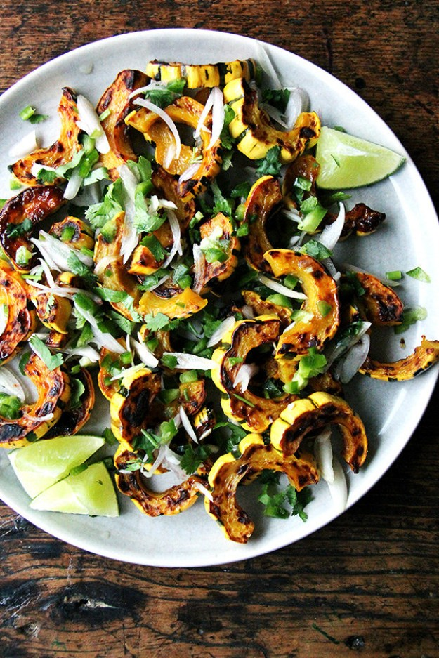 Roasted Delicata Squash with Chiles, Lime, and Cilantro